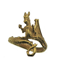 Real 10K Yellow Gold Fierce Dragon WING TAIL  Wrap Ring Jewelry Pick Siz... - $374.01