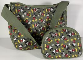 Authentic Disney Mickey Mouse Handbag Purse with Makeup Bag 2pc Set Oliv... - $21.77