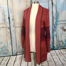 CAbi Joy Sweater, Size S, Red & Navy Long Cardigan - $29.36