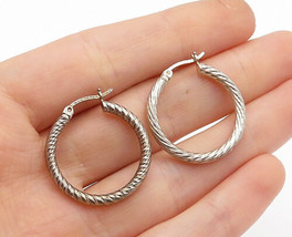 925 Sterling Silver - Vintage Shiny Etched Round Petite Hoop Earrings - ... - $23.10