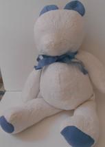 "Vintage Quilt Teddy Bear Handmade 19"" Tall White & Blue - $22.99"