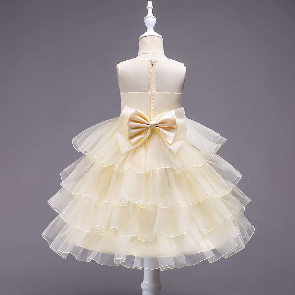 New Arrival Pricess Yellow Short Flower Girl Dress Lace Formal Party Gowns 2018
