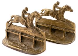 'English Steeplechase Brass Bookends' - $800.00
