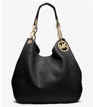 MICHAEL KORS FULTON BLACK/Gold Leather Large Shoulder Bag - $189.90