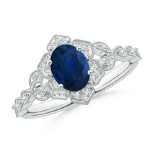 0.99ct Oval Sapphire Trillium Floral Shank Cocktail Ring in Gold Size 3-13 - $881.10