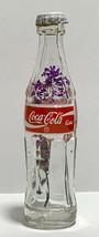 USA Coke Coca-Cola Mini Miniature dried Pink Purple Flowers crystal glass bottle image 2