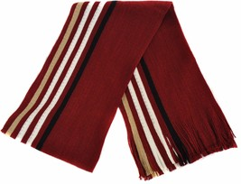 Frederick Thomas Mens Red, White and Cream Striped Wool Type Scarf FT860 - £16.61 GBP