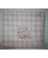 "Just Born BABY GIRL BUNNY RABBIT SOFT Blanket Pink Checked Plaid 40"" Security - $14.81"