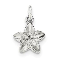 .925 Sterling Silver Plumeria Flower Charm Pendant - QC8680VJ6308 - $9.71