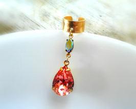 Mermaid Gem Ear Cuff Rare Antique Rainbow Gemstone Ear Cuff Cartilage Ea... - $64.00