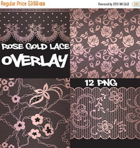 Rose gold lace overlay clipart, rose gold, lace overlay, lace clipart, r... - $3.15