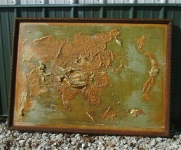 Antique Relief Map Asia 1913 Edition, Atlas Relief Map Co Chicago, Vinta... - $999.00