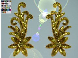 pair appliques sequins applikationen pailletten sew on embroidery handma... - $9.99