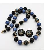 Vintage Faux Cloisonne Style  Blue Black Glass Bead Necklace Earrings De... - $29.68