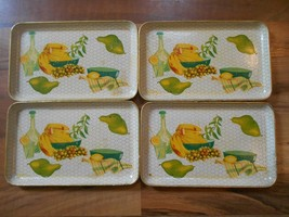 Old Vintage Set Matching 4 Trays Nevco Japan Alcohol Proof Fruit Motif K... - $9.99
