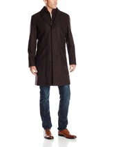 NWT Cole Haan Men's Tumbled Faux Leather Trim Topper Wool Coat Small JAVA - $163.99