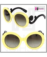 PRADA Minimal Baroque Round Oversized Swirl PR27NS Pale Yellow Black Wom... - $212.95