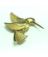 HUMMINGBIRD GOLD PENDANT BROOCH pinback bird ruby red eye pin gold jewel... - $17.82
