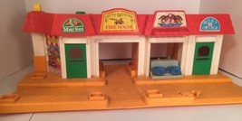 Vtg 1970s Fisher Price Portable City Toy Mart Market Fire House Post Off... - $19.75