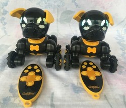 2 WowWee Chippo Black Chippies Robot Remote Control Toy Dogs-Dance,Guard... - $20.30