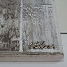 "HANDMADE BIG PANEL WALL CRUCIFIX, PAINTED WOOD, STYLIZED CHRIST, 23.6"" ITALY image 7"