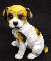 Fox Terrier Puppy Dog Figurine with Adorable Glassy Eyes Lefton 1985 - $12.86
