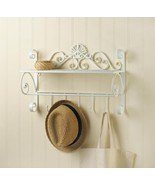 Decorative White Flourish Wall Shelf with Hooks - $43.95