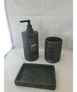 3 DKNY Black Soap Dispenser Tray Toothbrush Holder Bath Accessory Set NW... - $49.49