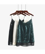 Allover Sequins Camisole, V Neck Cami Top + Inner lining, Size S M L XL 2XL - $19.00