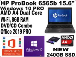 "HP ProBook 6565b 15.6"" LaptopWIN10NEW 240GB SSD_DVD_Office 2019DISCOUNTED - $252.44"