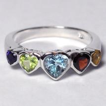 Heart Shape Gemstone 5 Stone Promise Ring Womens Sterling Silver Bezel Set - $59.00