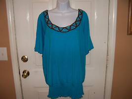 Faded Glory Caribbean Blue Cold Shoulder Top W/Embellishment Size 3X Wom... - $20.28