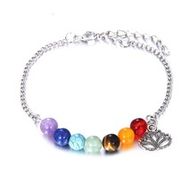 7 Chakra Bracelet Healing Heart Charm Bracelets Women Men Natural Stone ... - $12.43
