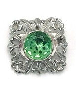 Vintage Open Work Silver Tone Green Rhinestone Brooch Scatter Pin - $12.86