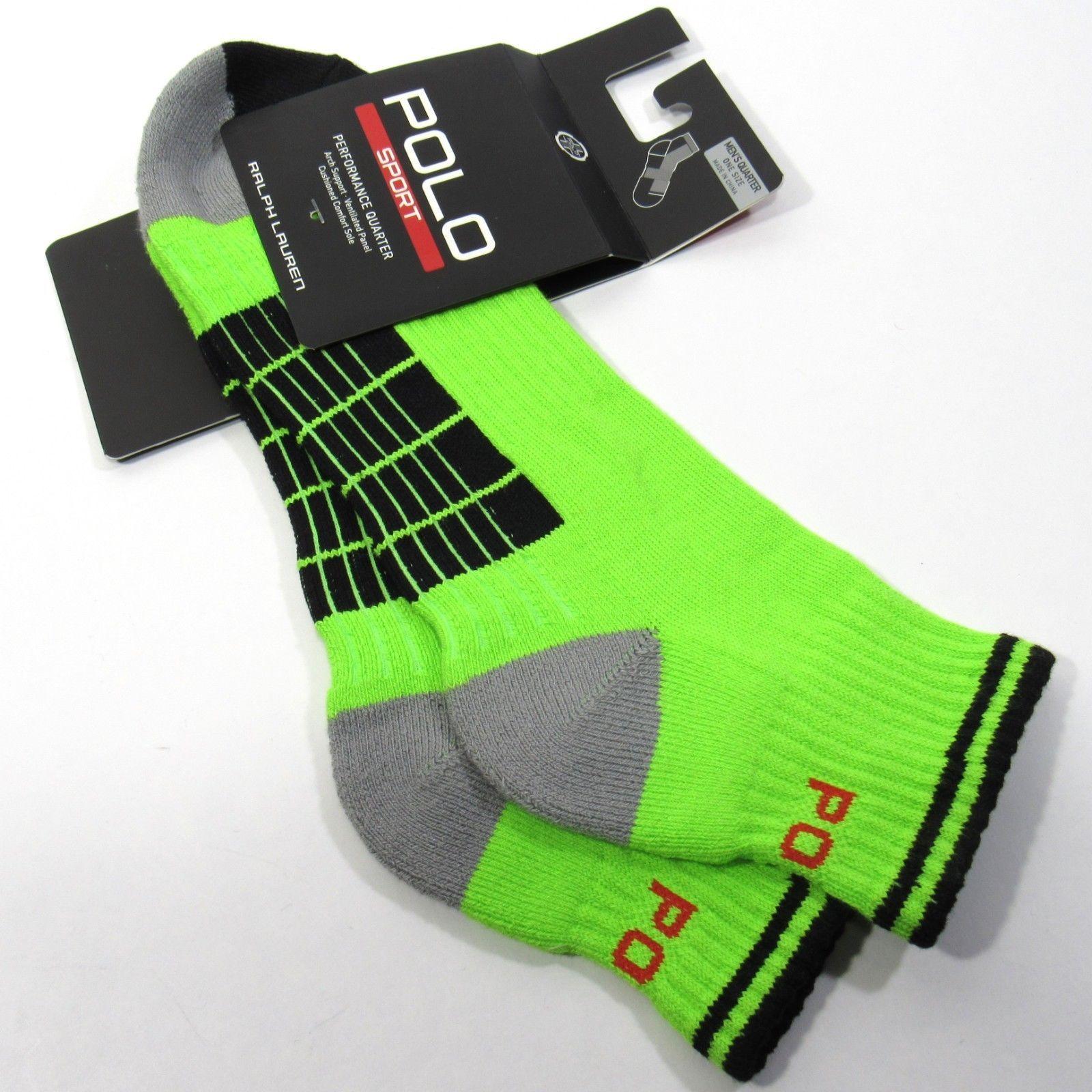 RALPH LAUREN POLO SPORT Mens Performance Quarter Socks Arch Neon Green