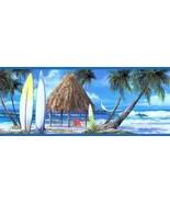 Blue Surfs Up Beach Wallpaper Border York Wallcovering WT1104B - $20.99