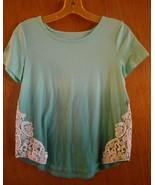 Mudd  14-16 Turquoise Asymmetrical Hem Polyester Rayon Cap Sleeve Boat N... - $13.96