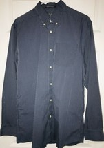 Eddie Bauer Mens M Striped Relaxed Wrinkle Free Dress Shirt Button Blue ... - $15.28
