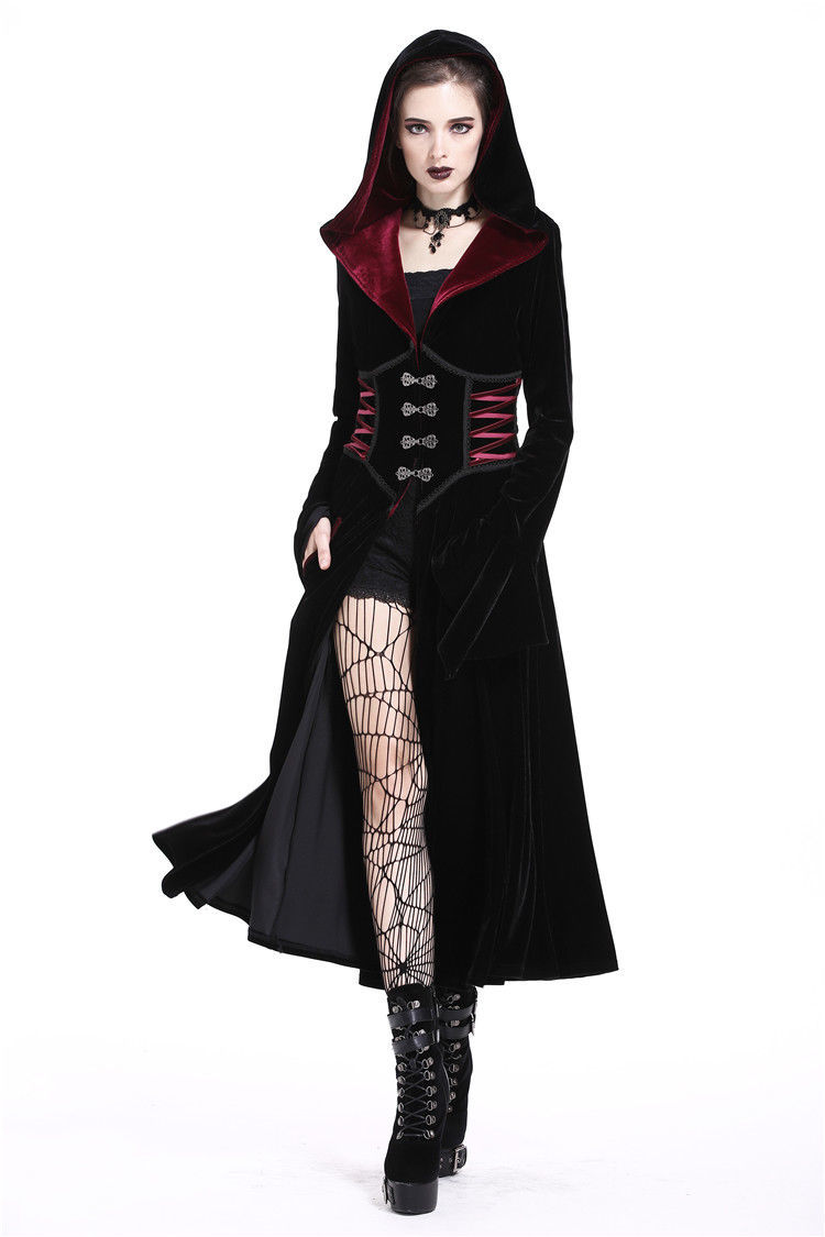 Black Velvet Red Trim Hooded Goth Jacket Long Victorian Gothic Coat Spring Fall