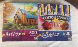 2 Puzzles Puzzlebug 500 Pc Cotton Candy 500 Pc Serenity Church Free & Fa... - $9.90