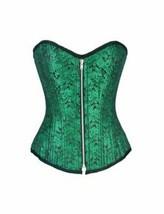 Green Brocade Zipper Double Bone Gothic Burlesque Overbust Corset Waist ... - $64.99