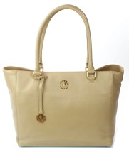 DKNY Donna Karan Dune Beige Leather Tote Shopper Bag Large Handbag - $304.73