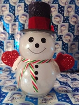 Handmade Glass Christmas Snowman - $38.26