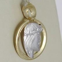 Anhänger Medaille Gelbgold Weiß 750 18k, Gesicht von Christus, Krone Steckern image 2