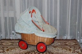 Old 1950s-1960s German Wicker Baby Doll Carriage with Pierrot Doll - $83.60