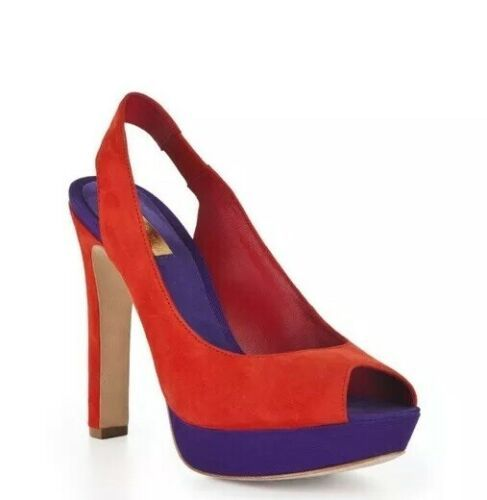 BCBG Maxazria MALI Color Block Slingbscn Pumps Peep Toe Red Purple Size 7.5 - $17.72
