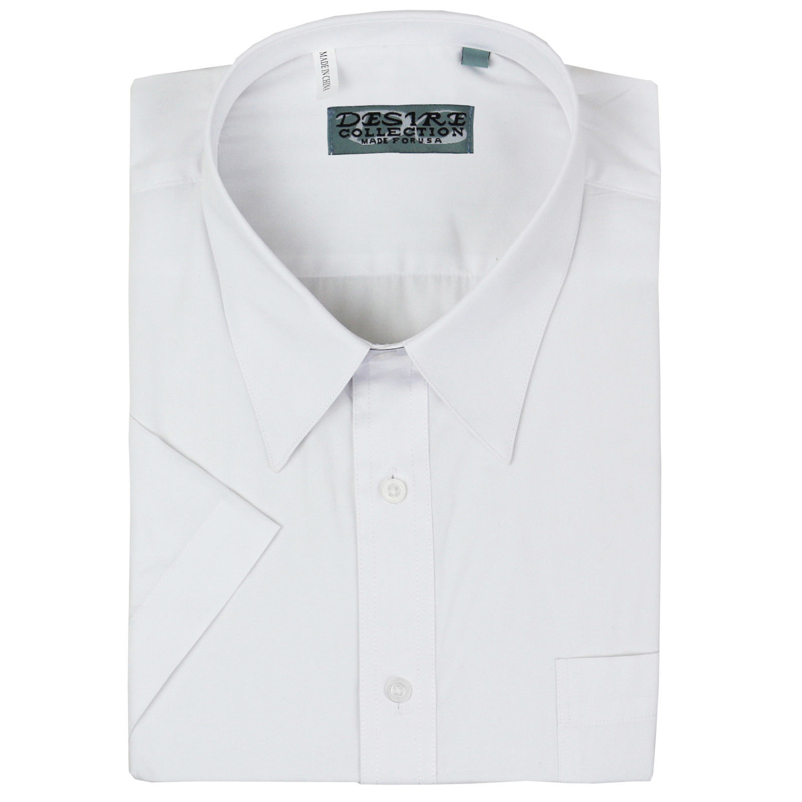 Desire Men's Premium Classic Button Down Short Sleeve Solid Dress Shirt White