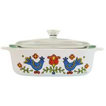 Vintage Corning Ware Country Festival Blue Bird Casserole Dish w/ Lid 1q... - $19.75