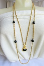Vintage Runway Long Double Chain Pendant Necklace Chunky Black Glass - $22.50