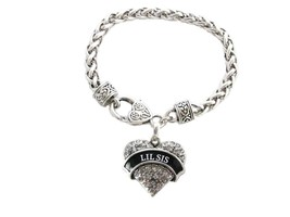 Lil Sis Clear Crystal Heart Silver Bracelet Jewelry Sorority Rush Gift - $14.72